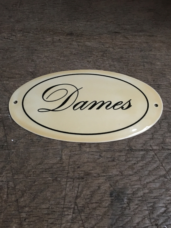 Gietijzeren plaatje emaille deur dames toilet bordje deurbordje naambordje landelijk nostalgisch  industrieel grootmoederstijd brocant