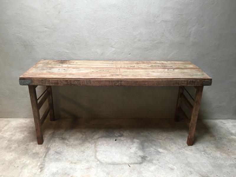 Oude landelijke industriële eettafel naturel 173  x 60 cm hout houten Sidetable bureau buro tuintafel klaptafel werkbank werktafel oud vintage stoer
