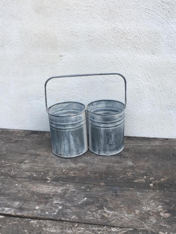 Zinken duobakje dubbel bakje bestekbak met hengsel verzinkt landelijk grijs