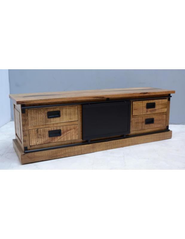 Houten televisiekast tvmeubel schuifdeur sideboard sidetable kast hout houten metaal metalen schuifdeur dressoir landelijk industrieel vintage