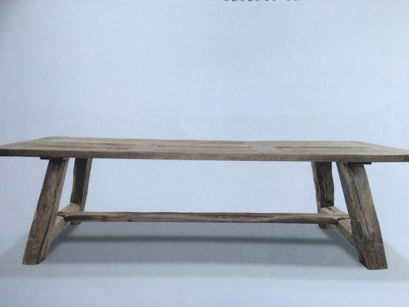 Massieve vergrijsd eiken tafel boerentafel eettafel 280 x 100 x H77 cm kloostertafel landelijk robuust stoer eettafel