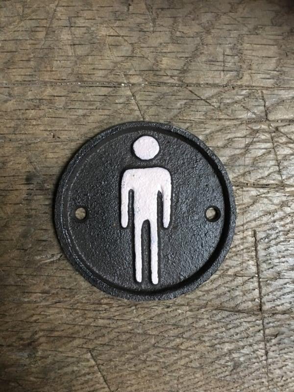 Gietijzeren bordje toilet heren mannen wc jongenstoilet zwart wit