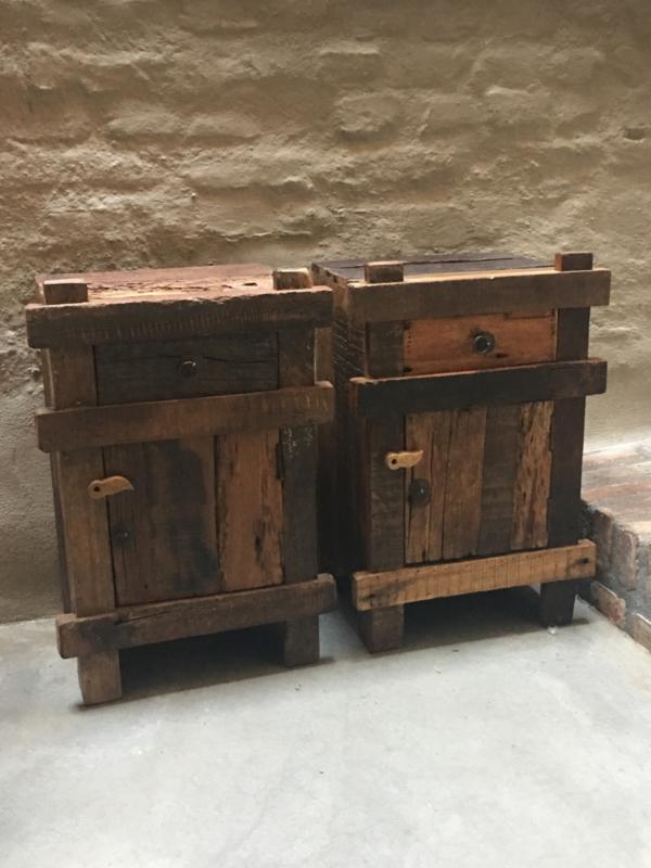 Uitgelezene Stoer oud houten industrieel landelijk kastje kast deurtje ruw FR-69