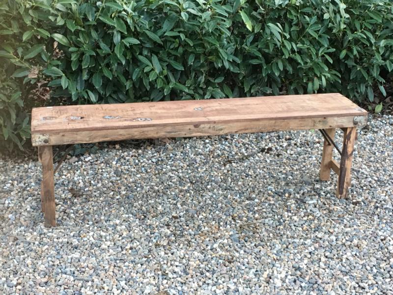 Oud landelijk houten bankje bank klaptafel markttafel klapbank tuinbank  kindertafel 150 cm buro bureau kind kinderen kinder kruk sidetable bijzettafel salontafel