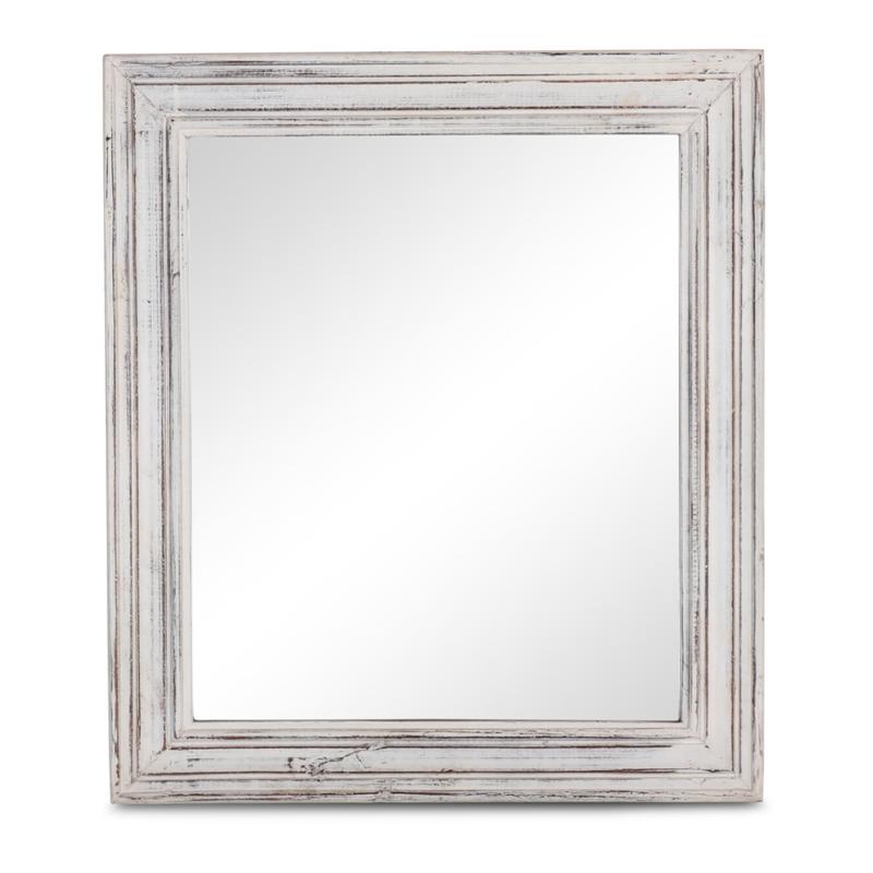 Witte houten spiegel doorgescheurd sleets landelijk Ibiza boho style 68 x 58 cm