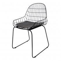 Zwart Metalen stoel stoelen met grijs antraciet matzwart  leren kussentje zitting industrieel vintage metaal