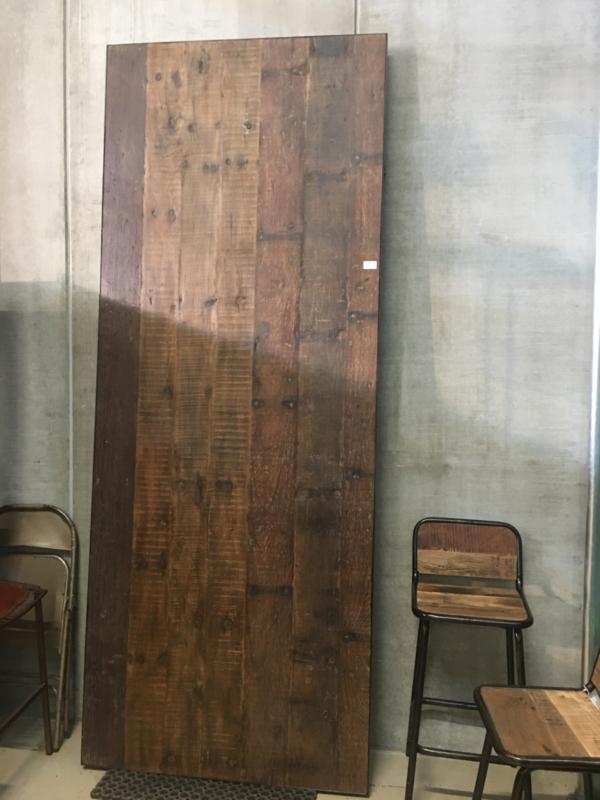 Gave industriële robuuste tafel eettafel 220 x 110 x 76 cm klaptafel metaal metalen onderstel inklapbaar oud houten blad doorleefd railway hout landelijk vintage