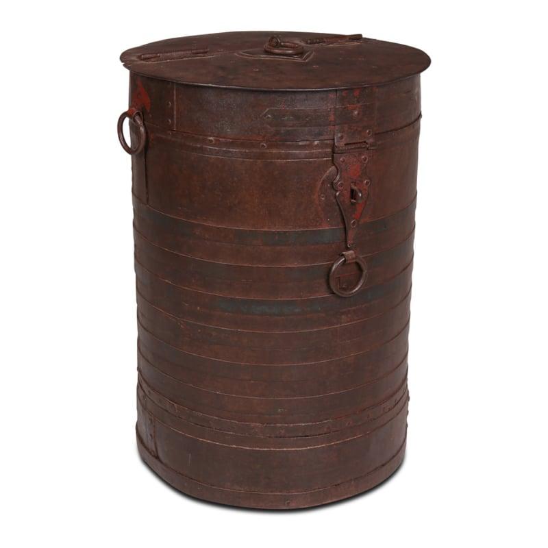 Grote oude metalen ton bak kachelhout houtbak voerbak trommel landelijk industrieel vintage urban 90 x68 cm