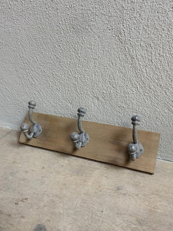Houten kapstok haak wandkapstok 42  cm landelijk 3 haken hout stoer landelijk industrieel vergrijsd kapstok haken wandrek wandhaken