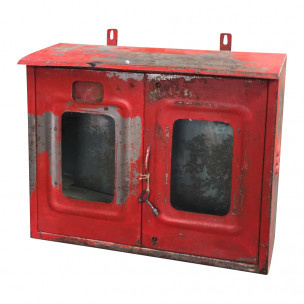 Oud metalen brandslangkast industrieel wandrek wandkast vintage rood metaal
