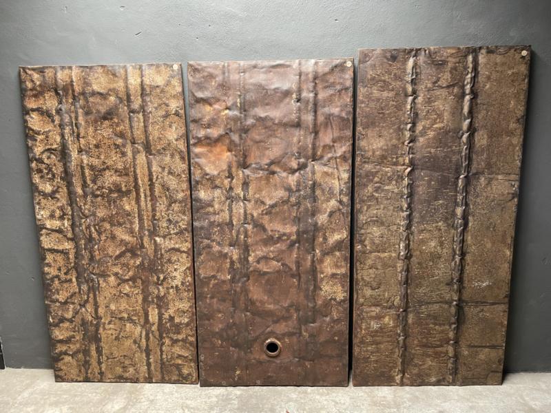 Oud ijzeren plaat paneel Wandpaneel zo stoer! Blad wand wandbekleding rijplaat tafelblad metaal metalen industrieel landelijk stoer grijsbruin