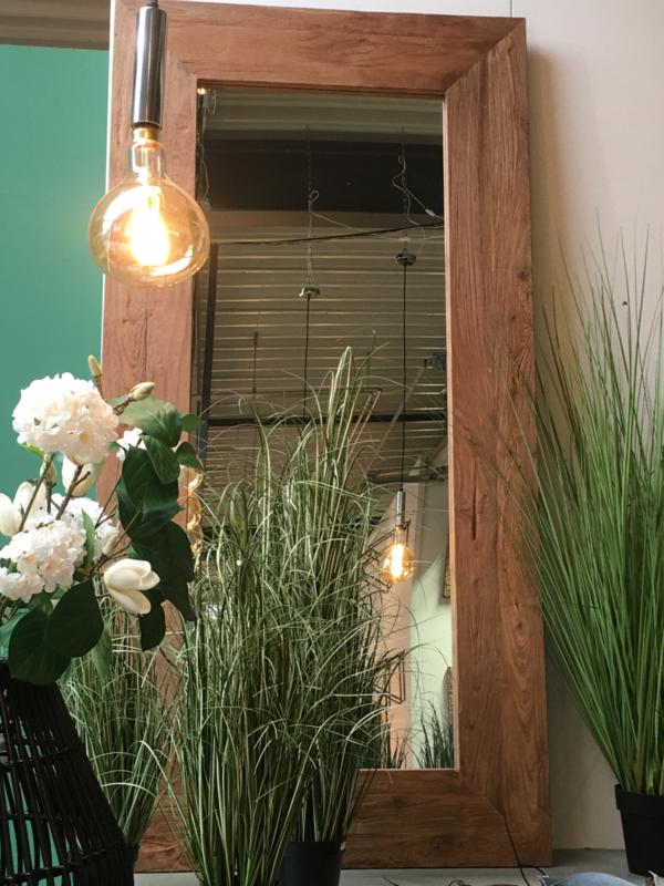 Zeer grove teakhouten houten hout spiegel lijst 200 x 100 cm passpiegel hout stoer landelijk industrieel teakhout