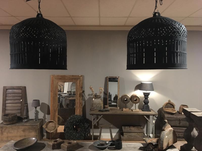 Grote smeedijzeren korf lampekap hanglamp 58 cm korflamp vintage mand landelijk zwart industrieel