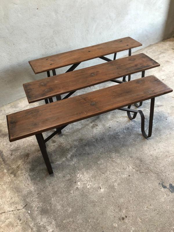 Oud houten bank bankje 100 -120 cm industrieel ijzeren onderstel metaal landelijk stoer vintage