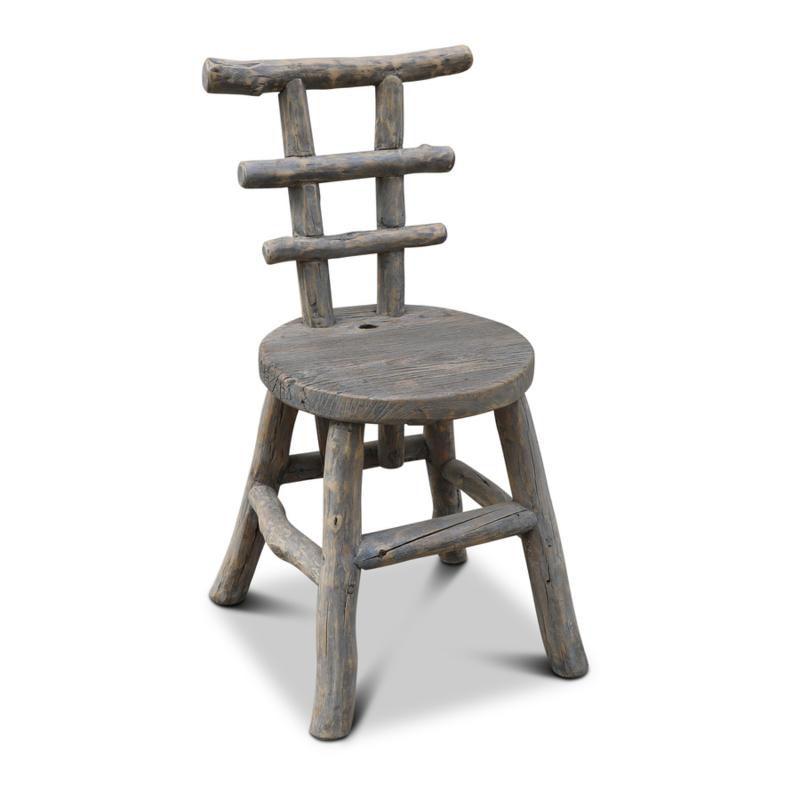 Vergrijsd houten stoel stoelen eetkamerstoel eetkamerstoelen landelijk grijs stoer robuust hout