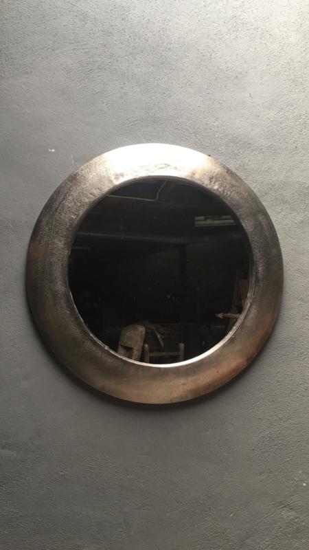 Metalen ronde spiegel spiegels rond metaal 70 cm grijs grijze landelijk stoer industrieel vintage