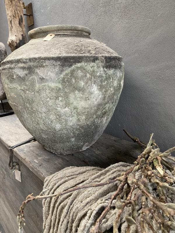 Originele oude kruik pot vaas waterkruik Aura Peeperkorn medium landelijk stoer sober grijs beige