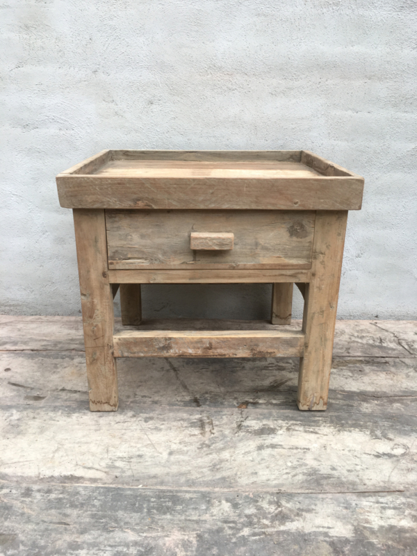 Wonderbaar Oud vergrijsd houten kastje nachtkastje nachtkastjes hout QP-35