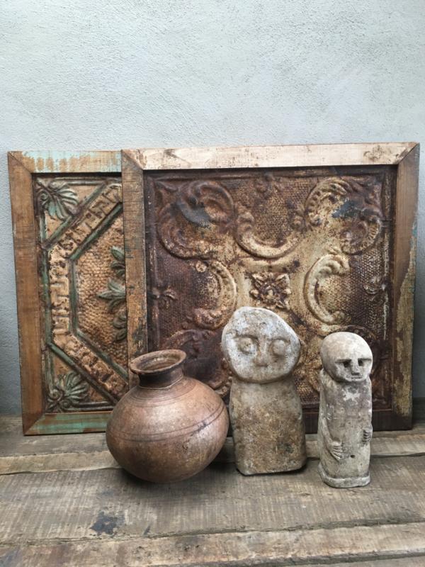 Prachtige oude wandpanelen Wandpaneel wanddecoratie bruin hout metaal