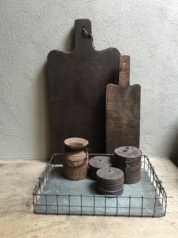 Draadstalen dienblad metalen metaal mand bak schaal landelijk industrieel Draadmand