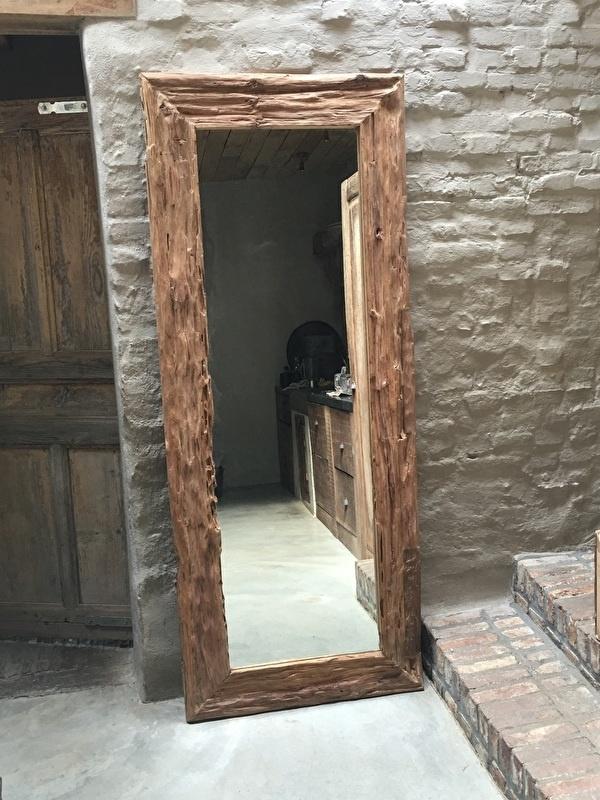 Zeer grove teakhouten spiegel lijst 180 x 80 cm teakhout landelijk passpiegel