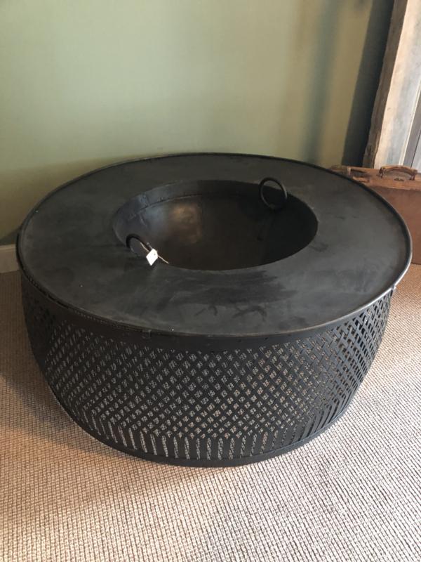 Grote ronde metalen vuurkorf vuurschaal tafel open vuurplaats haard kachel 113 cm vuurtafel vuurplaats rond open haard brandplaats stookplaats