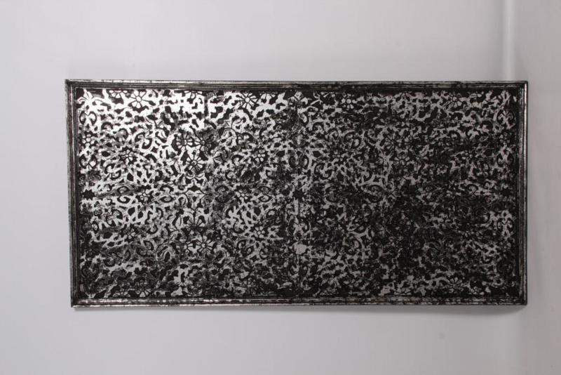 Groot zwart zilver grijs houten wandpaneel luik wandornament 120 x 60 cm stoer paneel