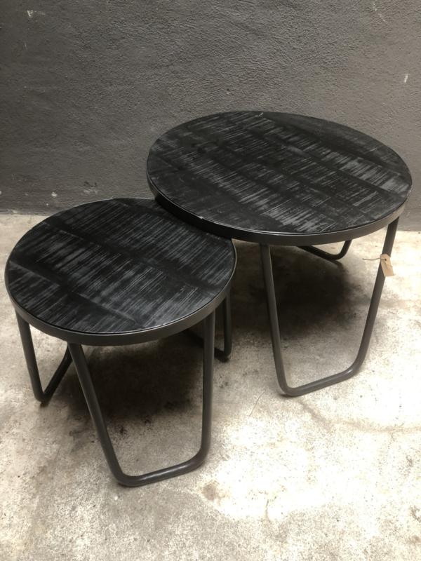 Rond zwarte houten bijzettafeltje Large Salontafel met metalen onderstel landelijk zwart stoer industrieel
