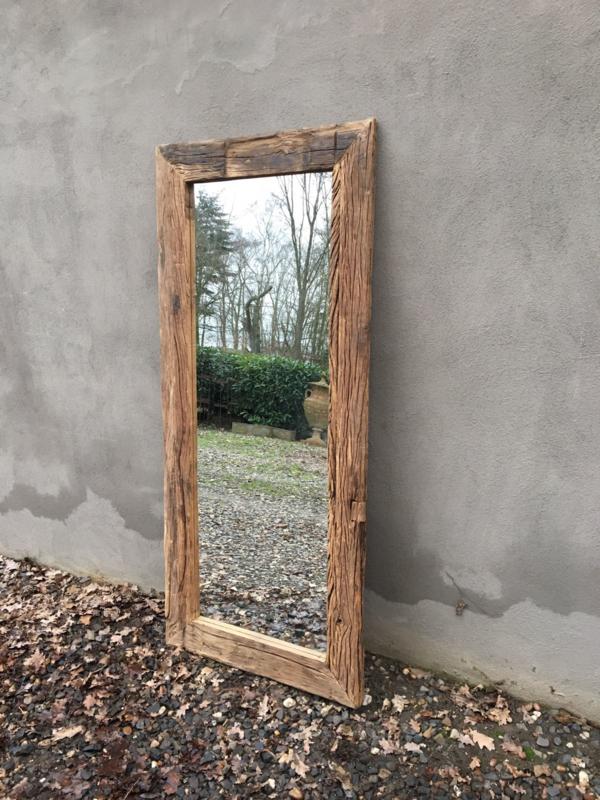 Stoere grove robuust houten railway sloophouten spiegel landelijk stoer oud hout 180 x 80 cm
