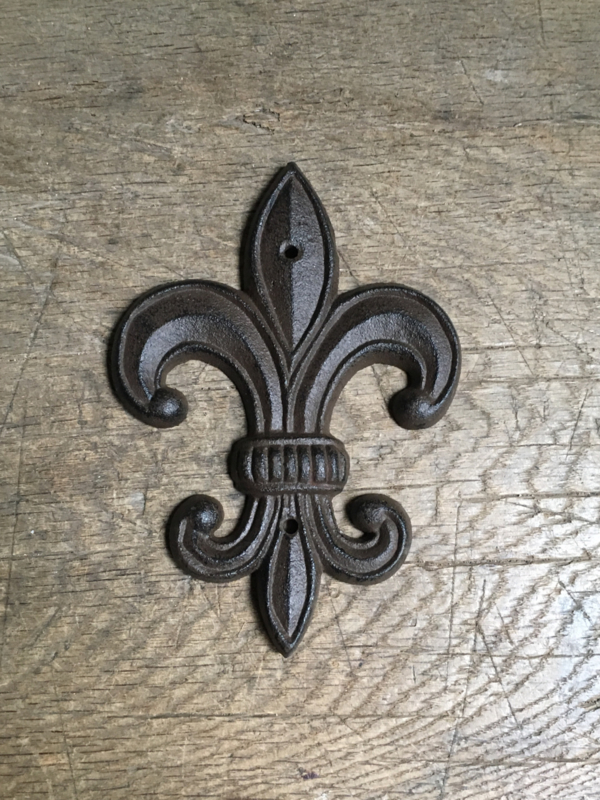 Verwonderlijk Gietijzeren ornament Franse punt lelie muuranker bruin landelijk BR-29