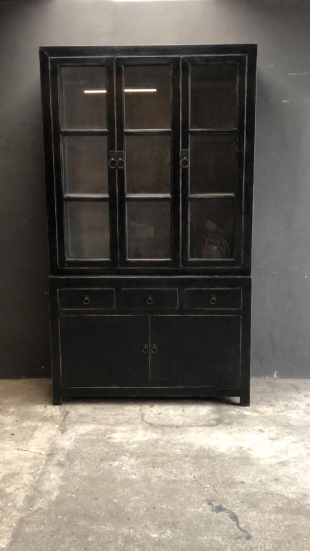 Mooie grote hoge kast met glas servieskast 225 x  130 x 50 cm vitrinekast keukenkast zwart hout landelijk stoer industrieel