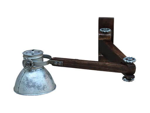 Vintage industriële lamp wandlamp bedlamp bedlampje wandlampje industrieel landelijk grijs zinken kapje met houten arm voet leeslamp Burolamp bureaulamp landelijk industrieel hout metaal zink zinken