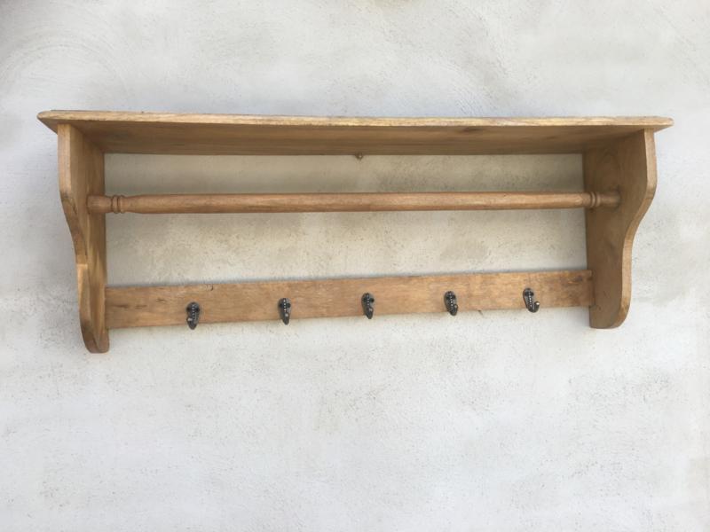 Landelijk naturel houten wandplank wandconcole kapstok wandkapstok hout rek schap plank