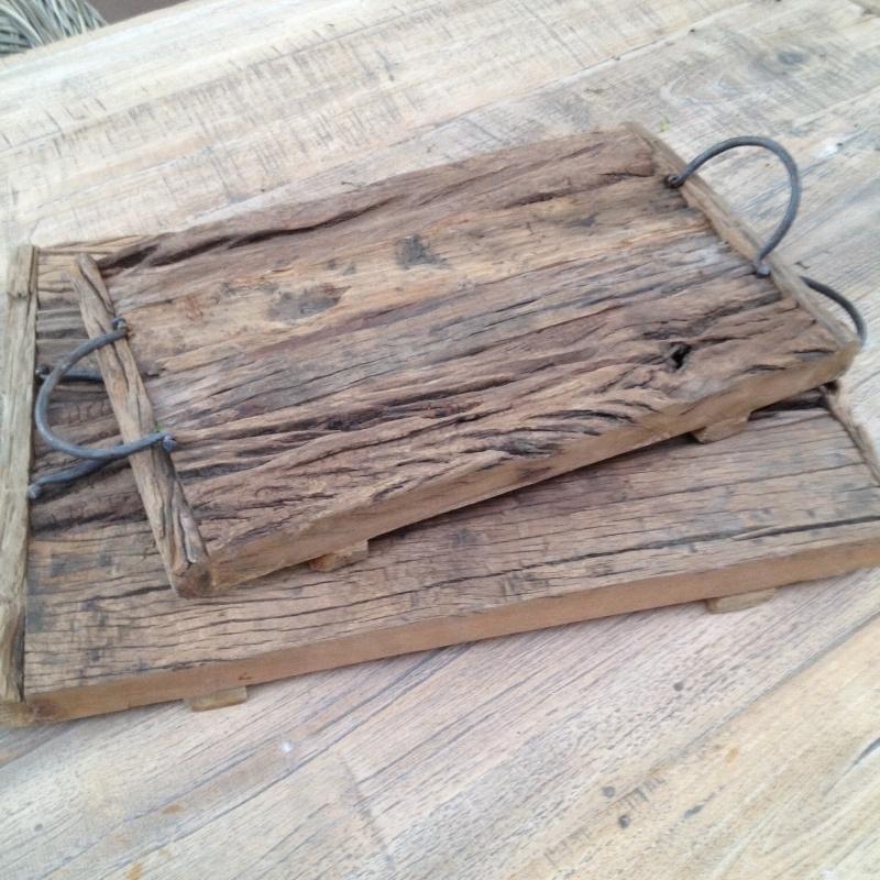 Oud houten dienblad Groot tray railway wagondelen hout met hengsels landelijk