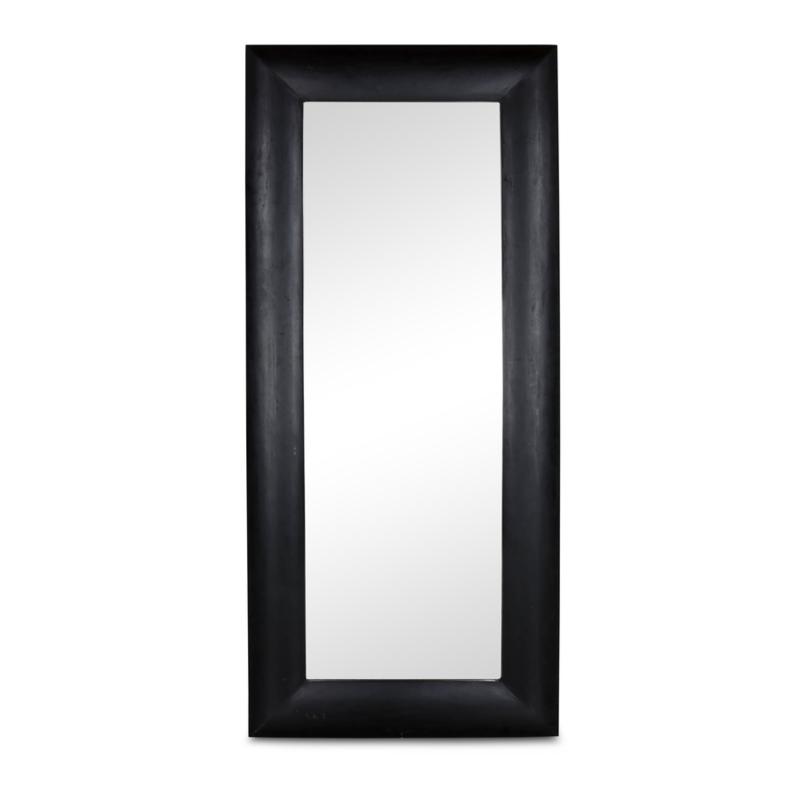Grote zwart houten spiegel passpiegel 190 x 85 cm stoer strak hout