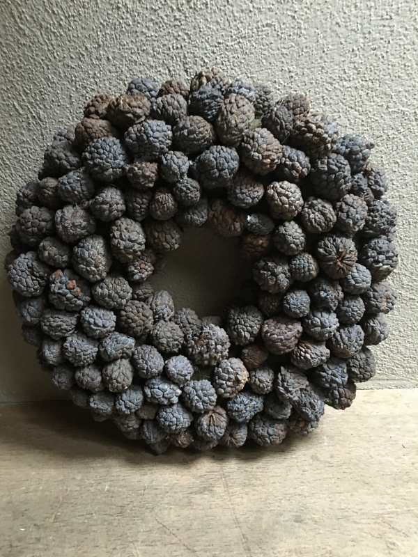 Ata fruit wreath krans grijs 65 cm landelijk stoer kransje