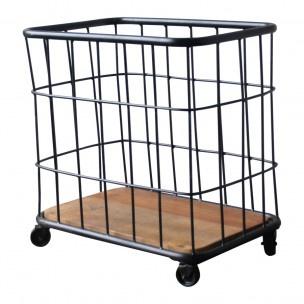 Industriële metalen trolley zwart mand bak wasmand op wielen wieltjes landelijk stoer grijs metaal hout vintage degelijke  kwaliteit