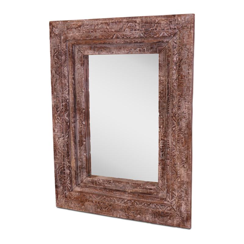 Grote naturel vergrijsd houten spiegel landelijk bewerkt boho style stoer vintage Ibiza 135 x 105 cm