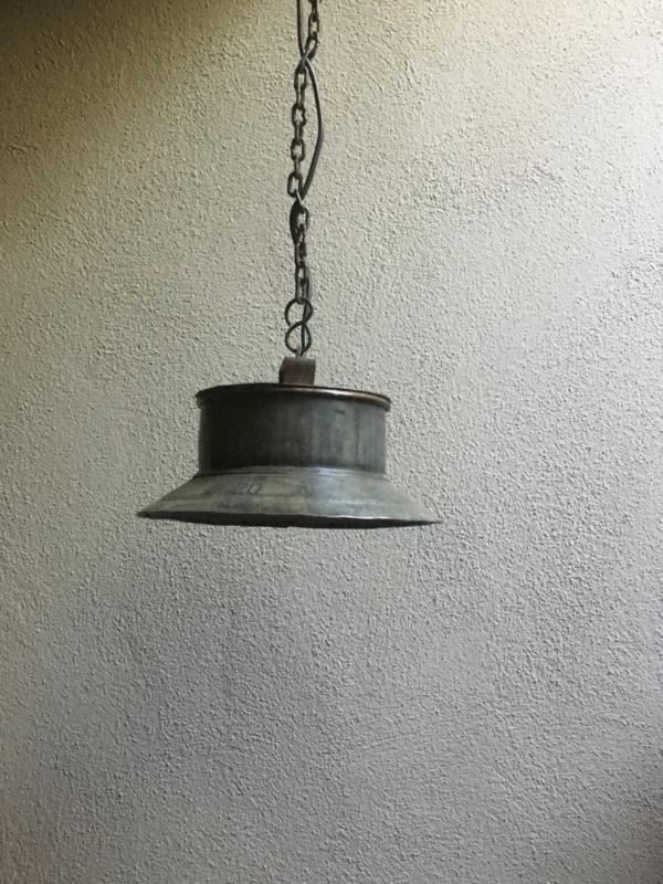 Industriële metalen hanglamp lamp oude ketel landelijk stoer metaal