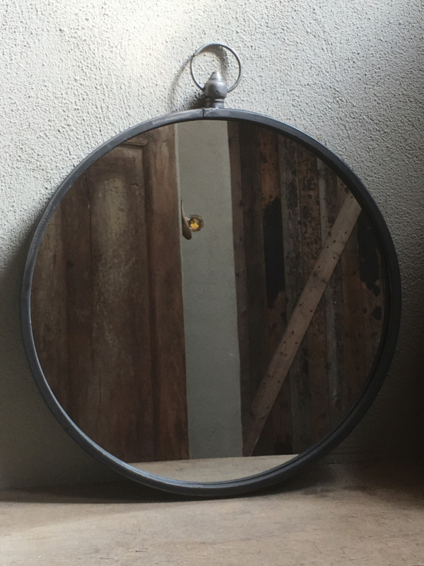 Grote Ronde Spiegel.Metalen Landelijke Grote Ronde Spiegel Spiegeltje 51 Cm Rond