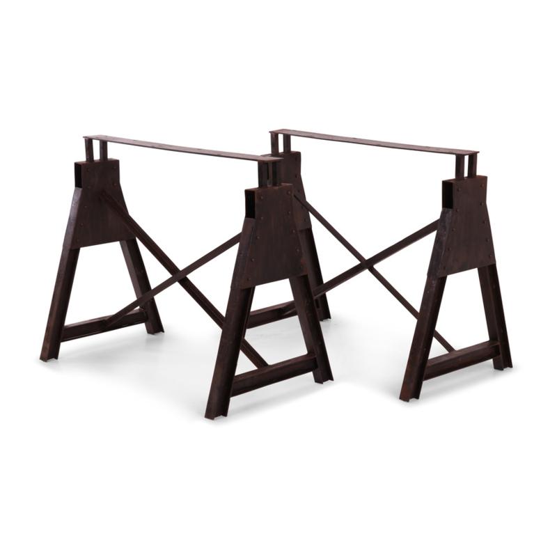 Metalen tafelpoot tafelonderstel metaal 2 poten schagen voet industrieel landelijk poot kolom