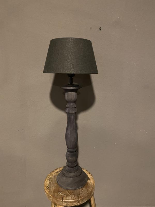 Stoere naturel grijs antraciet zwart houten balusterlamp 50 cm tafellamp landelijk stoer robuust