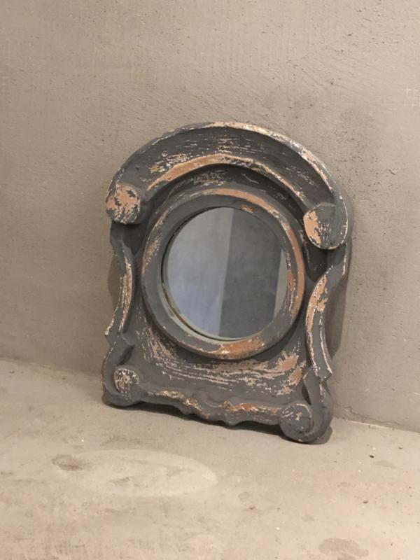 Houten spiegel spiegeltje osseoog ossenoog oeil de boeuf landelijk antraciet antreciet grijs vergrijsd hout