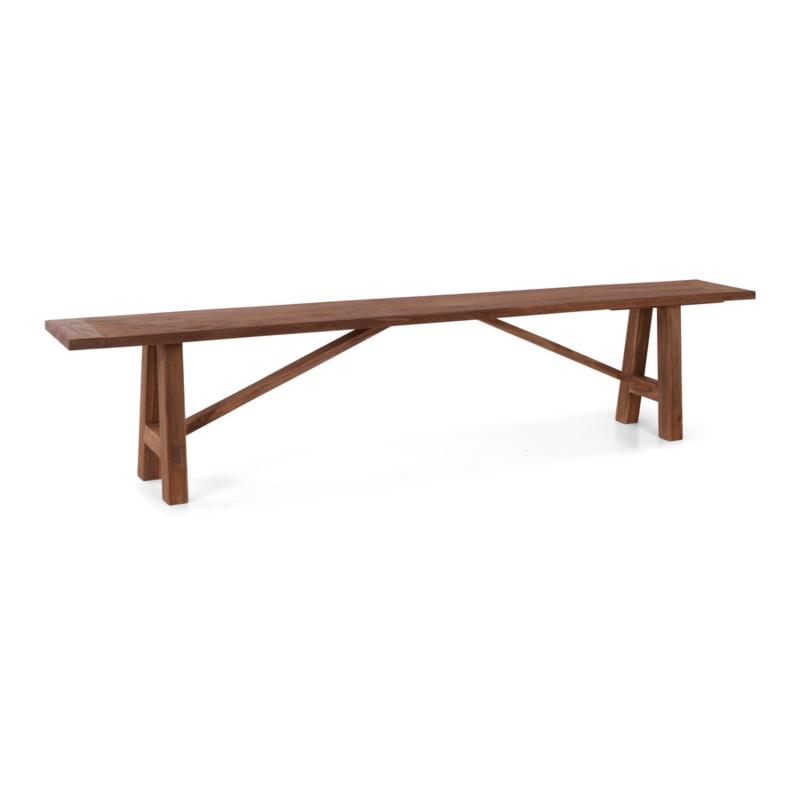 teakhouten bank eettafelbank 240 cm houten bankje tuinbank landelijk stoer hout teakhout