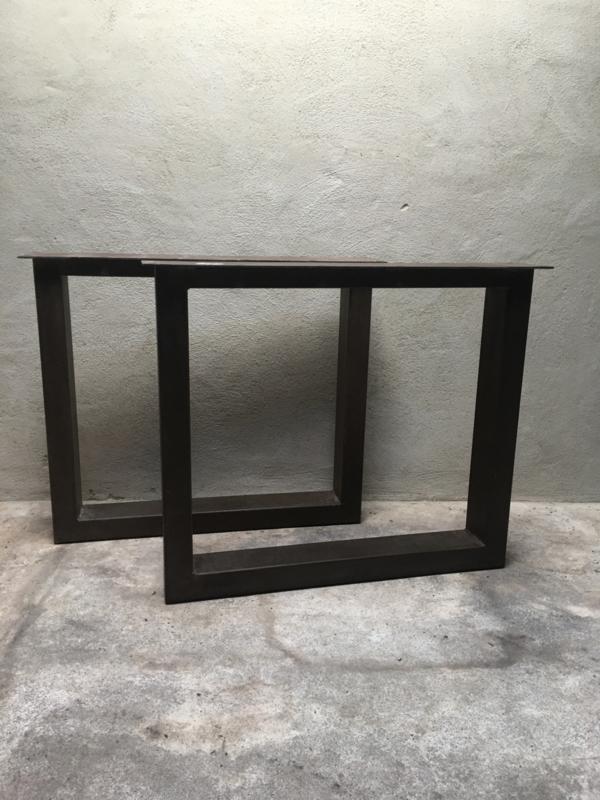 Zware metalen tafelpoten bruin grijs industrieel landelijk stoer set van 2