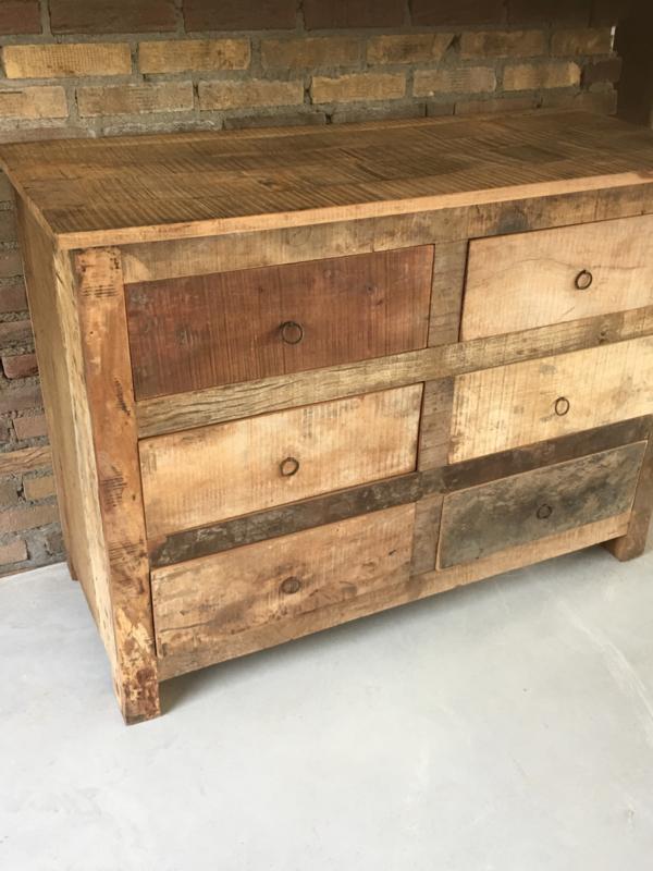 Nieuw Stoere oude houten teakhouten sloophouten ladekast dressoir QH-34