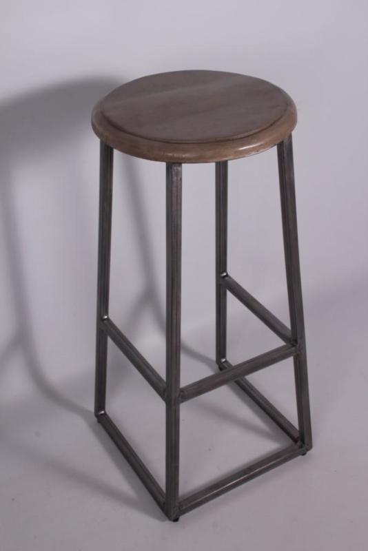 Grijze barkruk grijs metalen frame met ronde grijze zitting hout landelijk vergrijsd stoer industrieel H76 cm