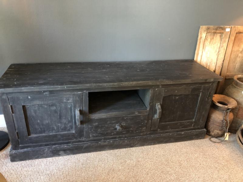 Stoer grijs antraciet mat zwart houten televisiekast televisie audio tv televisiemeubel tv-kast audio 160 x 45 x H60 cm dressoir kast Sidetable landelijk stoer