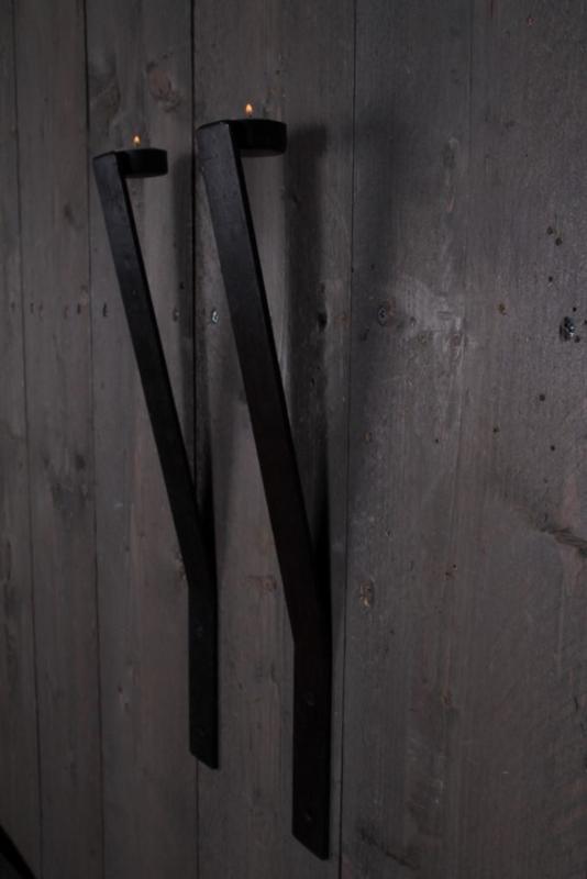 Metalen wandkandelaar strip theelichtje waxinelichtje kandelaar muur landelijk industrieel metaal 50 cm
