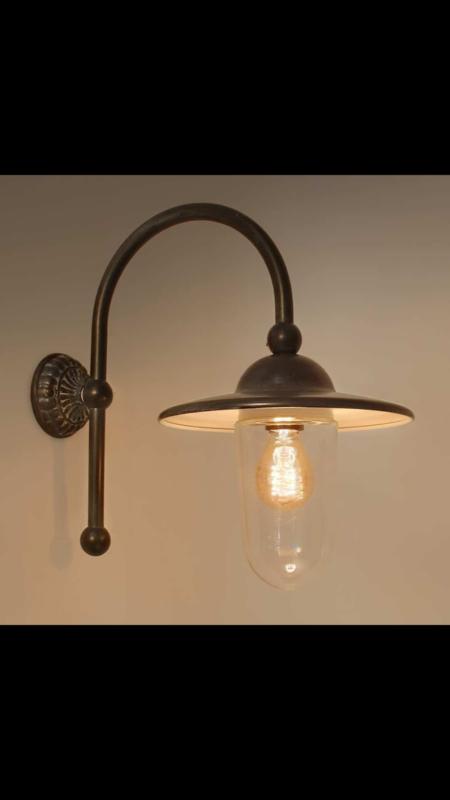 Grijze buitenlamp lantaarn stallamp piavon tierlantijn wandlamp  incl glazen stolp
